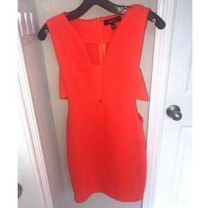 Dresses & Skirts - Red-orange side cut out dress